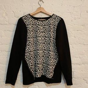 Tibi Size 6 Long-Sleeve Leopard-Print Sweater